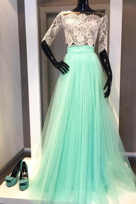 two piece prom dresses,prom dresses with sleeves,long prom dresses 2017,elegant prom dress,tulle dress