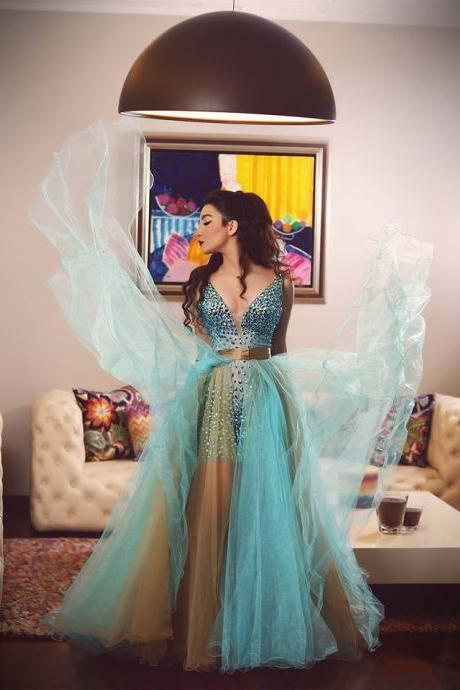 turquoise prom dresses,crystal beaded prom dresses,prom dresses removable skirts,prom dress 2017