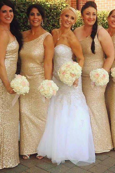 one shoulder bridesmaid dress,Mermaid Bridesmaid Dress,Sequins Dress,Champagne Gold Bridesmaid Gowns
