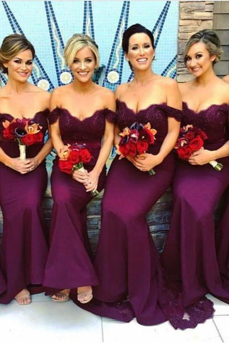 purple lace sweetheart long mermaid bridesmaid dresses 2017 elegant