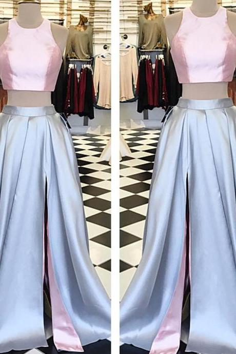 pink top long satin two piece prom dress,slit dress,party gowns,long evening dress,halter dresses
