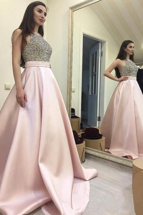 Beaded Prom Dress,Halter Prom Gowns,Long Evening Dress,Ball Gowns Prom Dress,Prom Dresses 2017