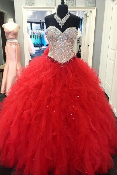 crystal beaded sweetheart organza ruffles ball gowns quinceanera dresses 2017