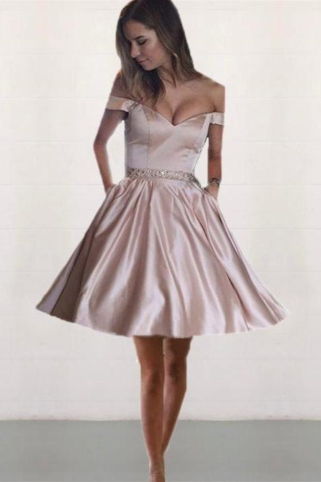 pink homecoming dresses,off shoulder prom dress,elegant party dress,birthday party dresses