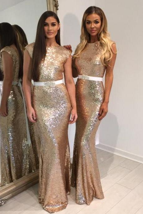 Rose Gold Bridesmaid Dress Glitter Sequins Dresses Mermaid Formal