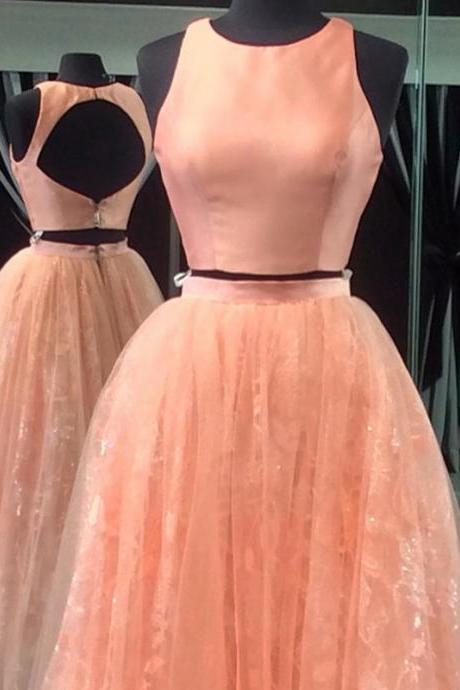Two piece prom dresses,2 piece prom dresses,coral prom dresses,mint green prom dress,prom gowns 2017