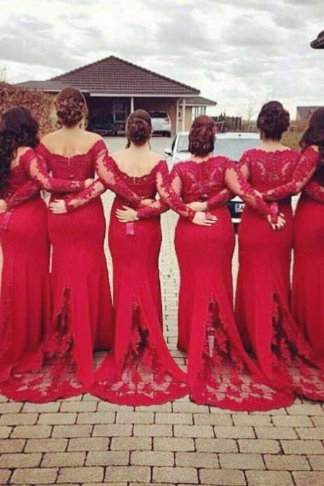 red bridesmaid dresses,mermaid formal dresses,long sleeves bridesmaid dresses,mermaid evening gowns