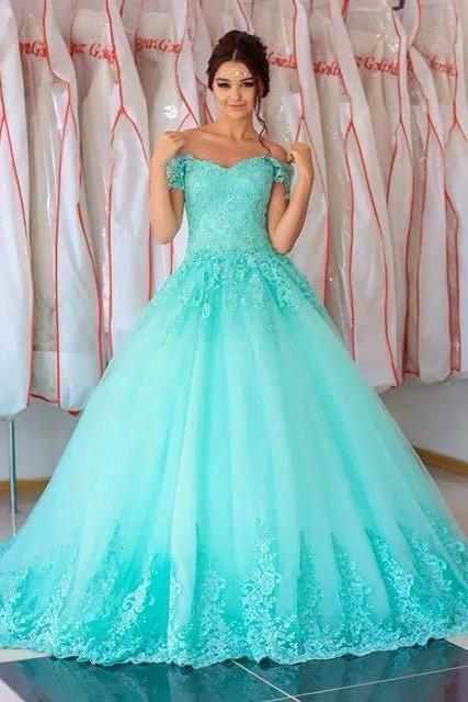 Turquoise Quinceanera Dresses,Ball Gowns Prom Dresses,Lace Prom Dresses,Elegant Quinceanera Dresses