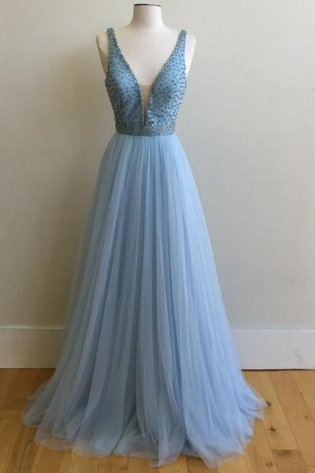 V Neck Prom Dresses,Long Prom Gowns,Chiffon Prom Dresses,Beaded Evening Gowns,Prom Dresses 2017