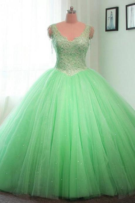 v neck wedding gowns,lace appliques wedding dress,ball gowns wedding dresses,lime green quinceanera dresses