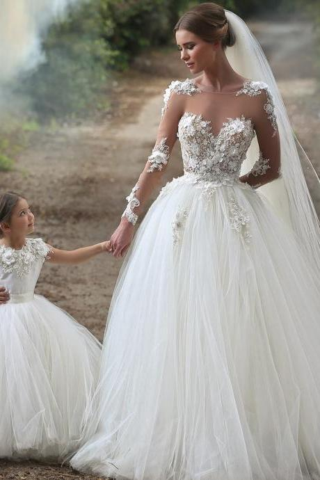 sheer long sleeves tulle princess wedding dresses 2017 romantic bridal gowns