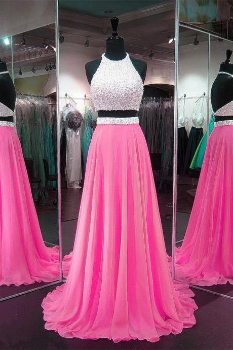 Pink Prom Dresses,Chiffon Prom Gowns,Two Piece Prom Dress,2 Piece Prom Dress,Long Prom Dresses 2017,Halter Prom Dress