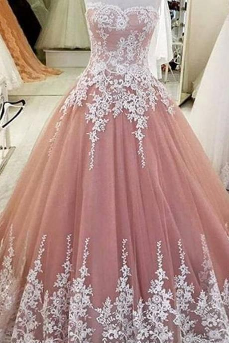 White Lace Appliques Sweetheart Tulle Wedding Dress Ball Gowns 2017 Elegant