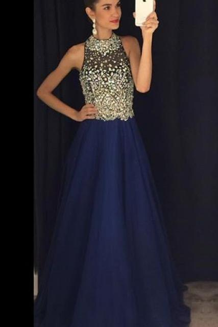 Sparkly Prom Dresses,Navy Blue Prom Dress,Halter Evening Gowns.Chiffon Prom Dresses,Prom Dresses 2017
