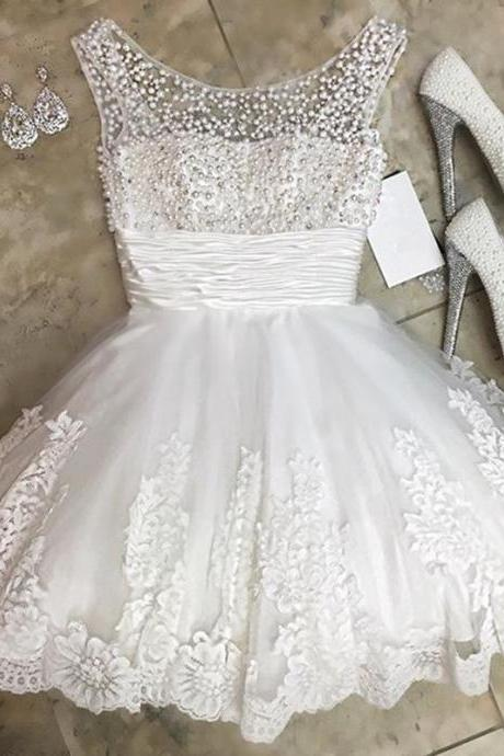 white homecoming dress,short prom dress 2017,Lace Homecoming Dress,Elegant Cocktail Dresses,Birthday Party Dresses