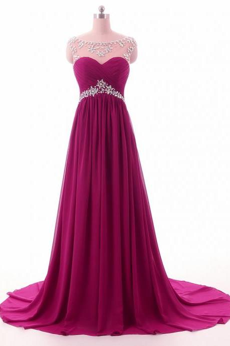 Beading Long Purple Chiffon Prom Dresses 2017 Custom Made Evening Gowns