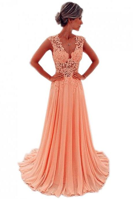 Coral Pink Prom Dresses,V Neck Prom Gowns,Chiffon Prom Dresses,Long Formal Dresses,Chic Evening Gowns