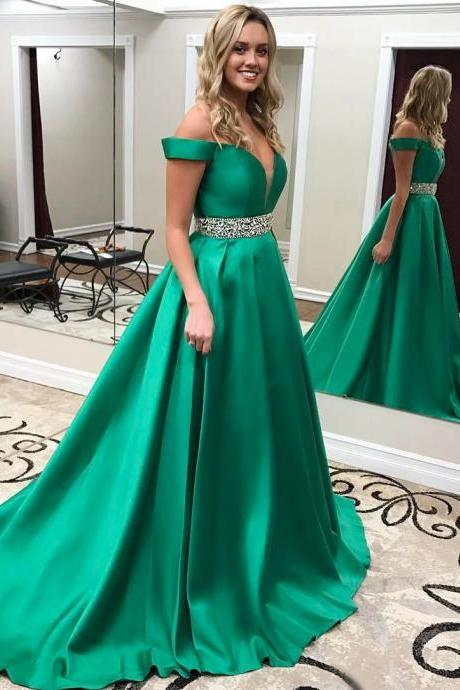 Off The Shoulder Long Satin Prom Dresses Ball Gowns 2017