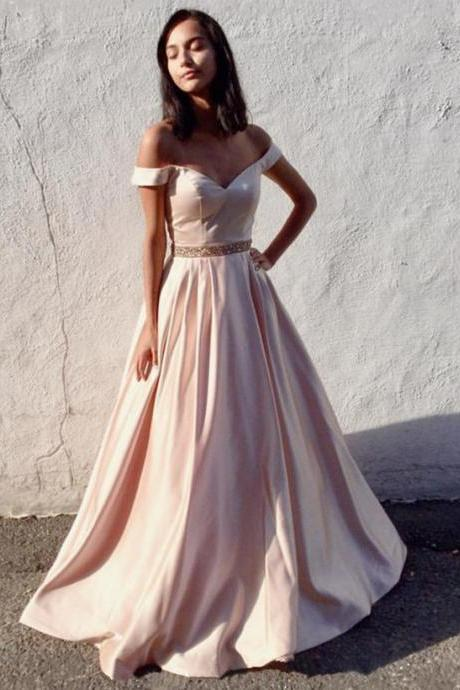 Off The Shoulder Gowns,Ball Gowns Prom Dresses,Satin Evening Dresses