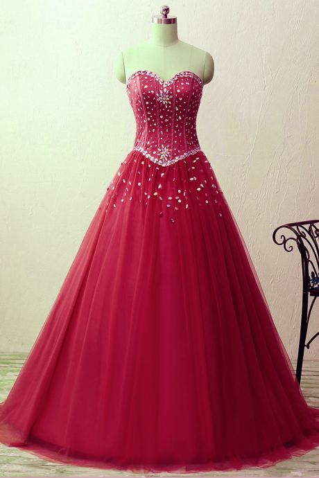 Sweetheart crystal beads satin tulle floor length ball gown prom quinceanera dresses