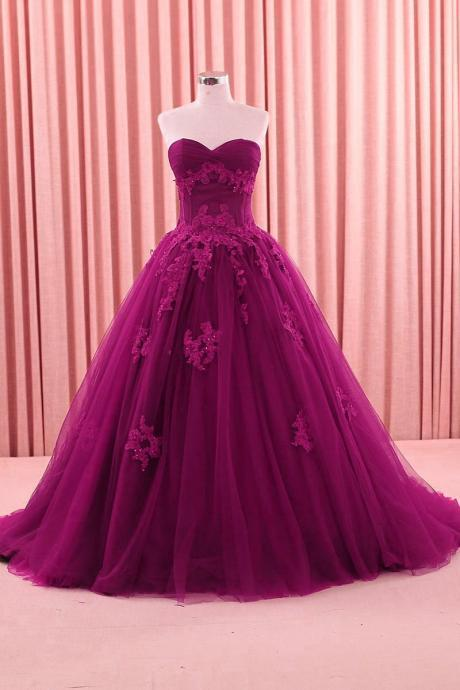 Vintage Fuchsia Prom Formal Wedding Gowns Sweetheart Applique Sweep Tulle Ball Gown Quinceanera Dresses