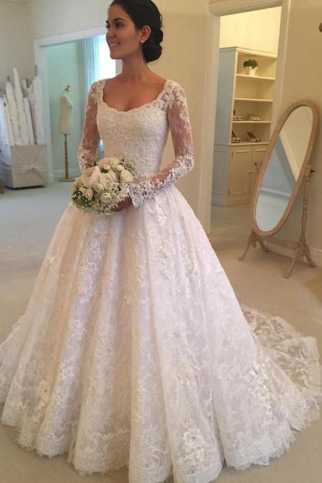 long sleeves wedding gowns,lace wedding dresses,princess wedding gowns,elegant wedding dress,vintage wedding gowns