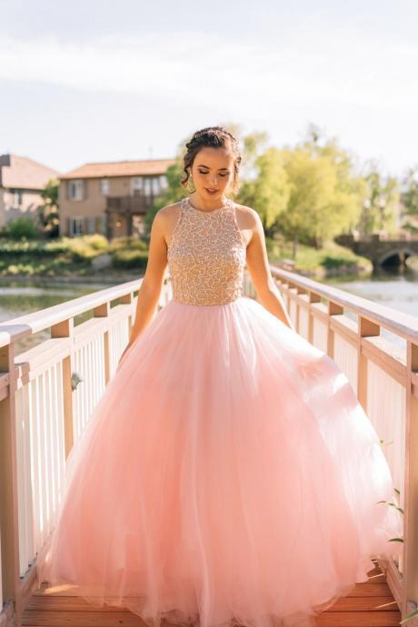 Ball Gowns Prom Dress,Tulle Prom Dress,Beading Prom Dress,O-Neck Prom Dress, A-Line Prom Dress
