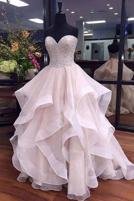 Beaded Embellished Sweetheart Floor Length Tulle Ruffled Wedding Gown