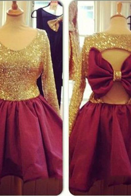 sequins party dresses,long sleeves homecoming dresses,short prom gowns 2017,bow dresses