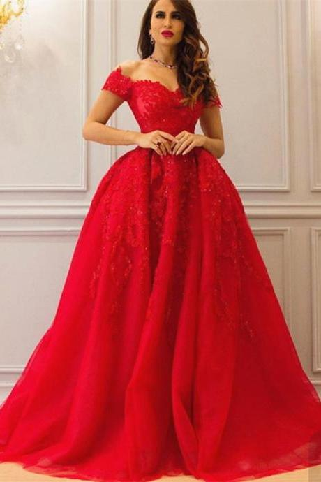 Red Evening Dresses,Lace Prom Dresses,Long Evening Dress,Elegant Prom Gowns,Prom Dresses 2017