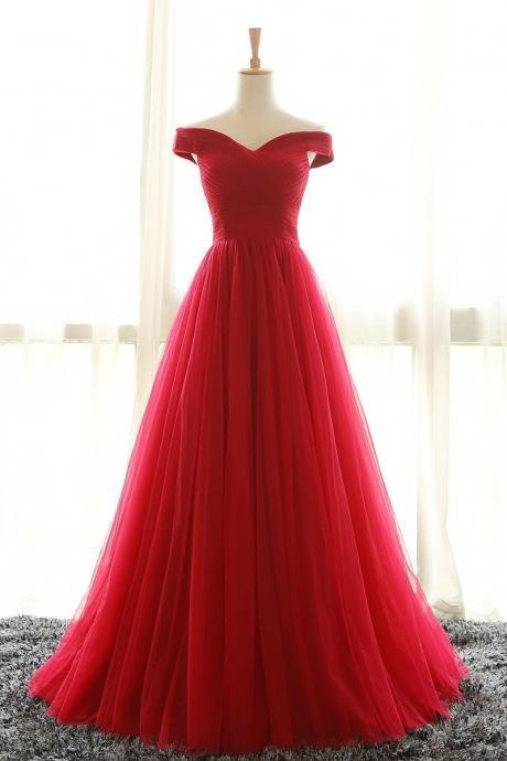 Red Prom Dress,Off The Shoulder Prom Dresses,Tulle Evening Gowns,Long Formal Dress,Sexy Prom Dress