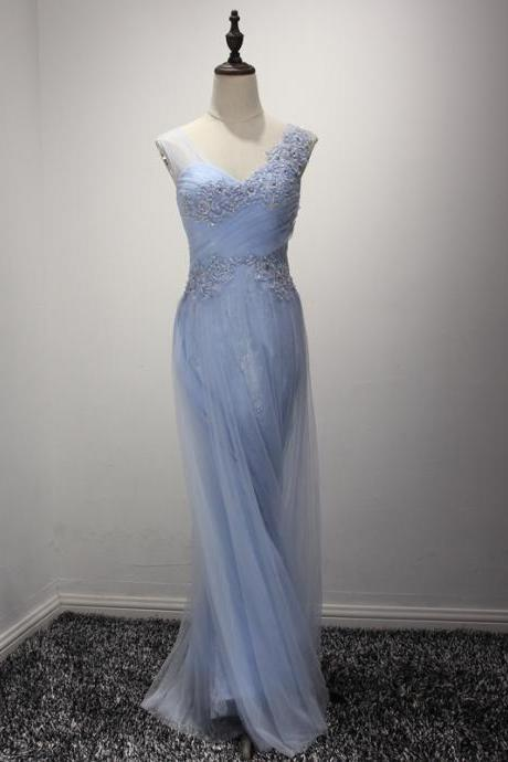Light Blue Bridesmaid Dresses,Tulle Evening Gowns,Long Formal Dress,Elegant Prom Dress Lace Appliques