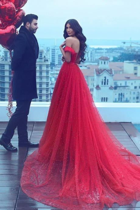 red evening gowns,pearl dress, v neck evening dress,formal prom dress,prom dress 2017
