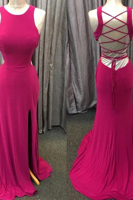 Long Jersey Prom Dress,Mermaid Prom Gowns,Maxi Prom Dress,Open Back Dress