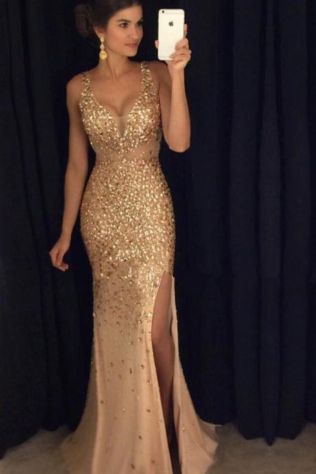 Backless Prom Dress, Sexy Spaghetti Straps Prom Dress, Champagne Crystal Beaded Prom Dress, Mermaid Evening Dresses, Sexy Slit Prom Gown,Prom Dress 2017