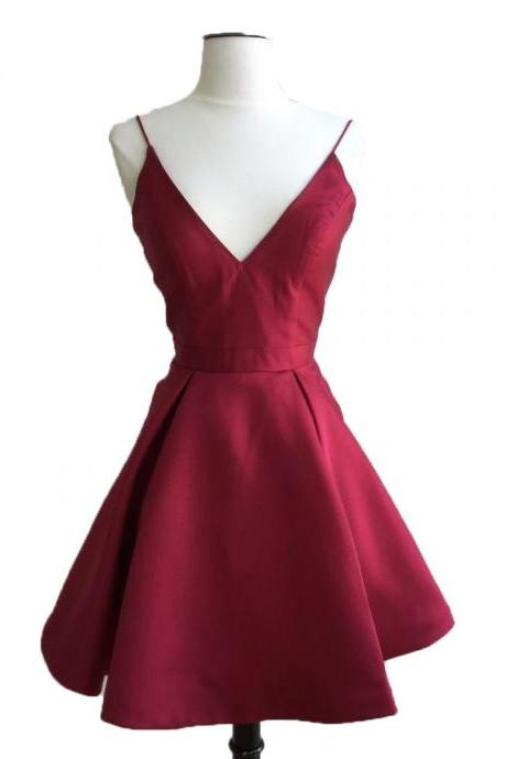 v neck prom short dresses,satin cocktail dress,cheap homecoming dress,backless party dress