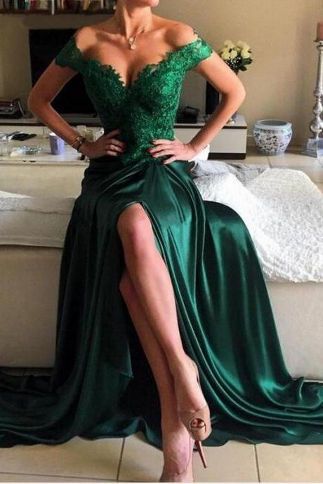 Dark Green Evening Gowns,Slit Prom Dress,Sexy Prom Dress,Maxi Party Dress,Elegant Prom Dress Lace Appliques