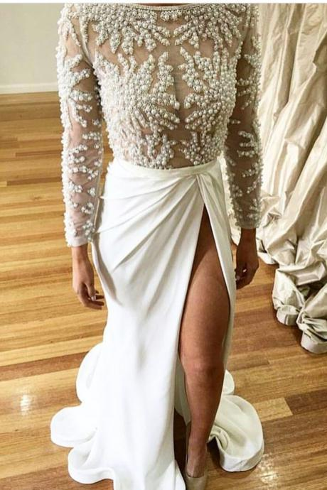 pearl beaded long sleeves see through evening dress mermaid 2017 sexy slit prom gowns