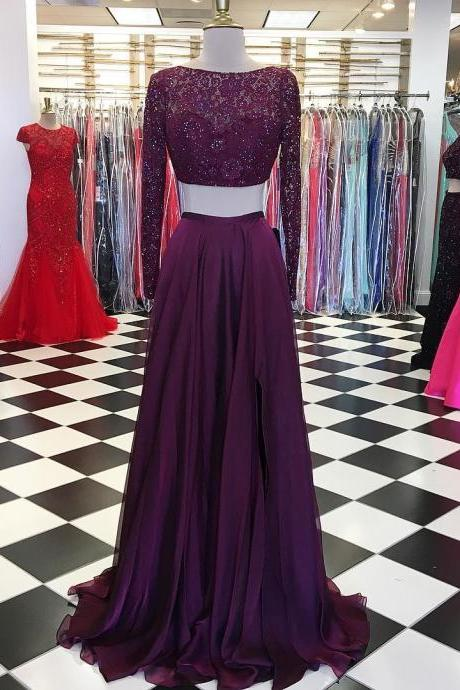 Long Sleeves Prom Dress,Mermaid Prom Dresses,Mermaid Evening Gowns,Two Piece Prom Dress,Chiffon Dress