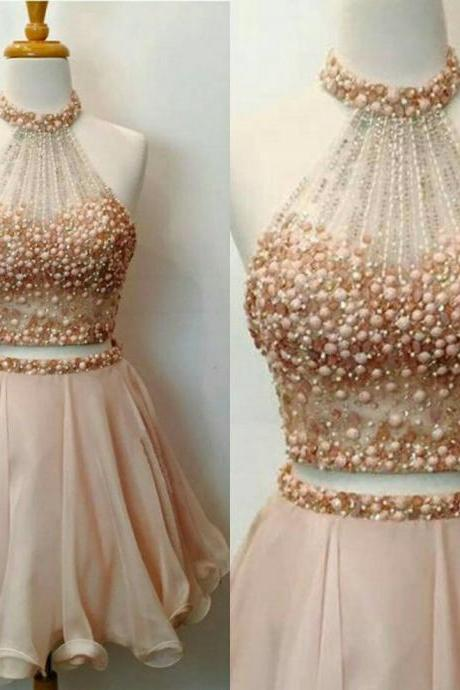 two piece homecoming dresses,halter prom dress,beaded cocktail dress, elegant homecoming dress,sparkly dress,short prom dress 2017