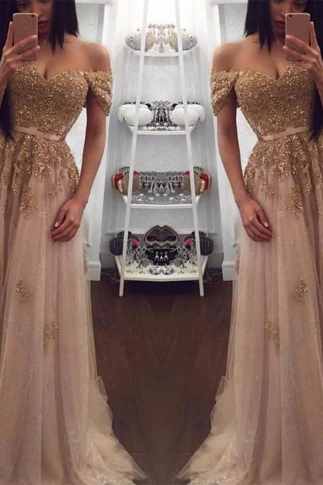 Champagne Evening Gowns,Tulle Prom Dress,Sweetheart Dress,Long Bridesmaid Dresses,Lace Appliques Dress