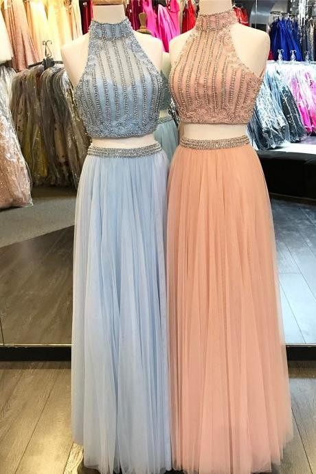 high neck prom dresses,two piece prom dress,tulle dress,sexy prom dress,pearl dress,long evening gowns,tulle dress