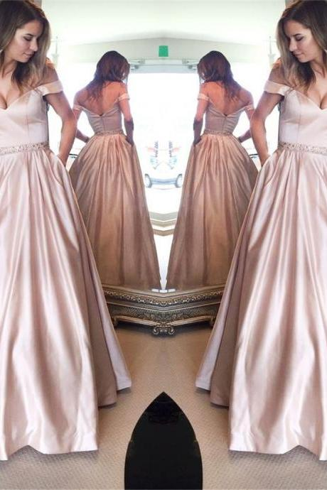 off the shoulder prom dress,ball gowns prom dress,elegant prom dress,satin evening gown