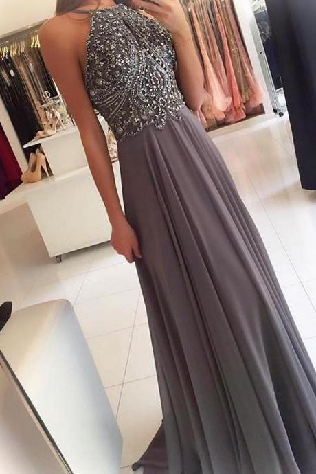 silver gray prom dress,halter prom dress,long prom gowns,beaded evening dress,open back dresses,chiffon evening gowns
