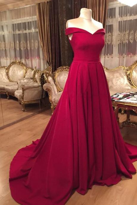 off the shoulder dress,satin prom dress,burgundy evening gowns,sexy prom dress,prom gowns 2017
