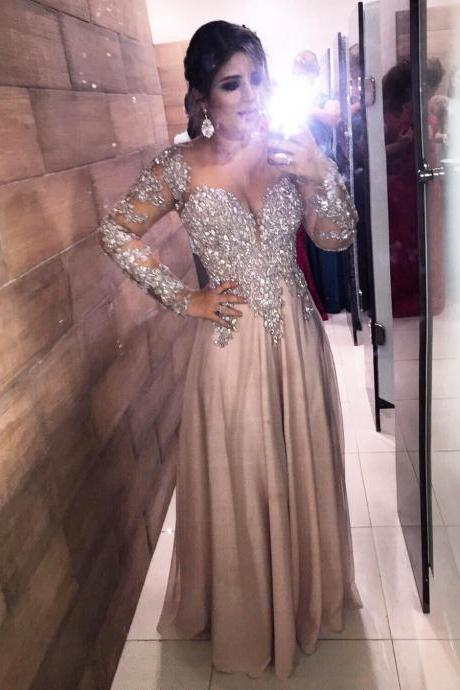 long sleeves prom dress,chiffon prom dress,long sleeves evening gowns,crystal beaded prom dress,formal gowns