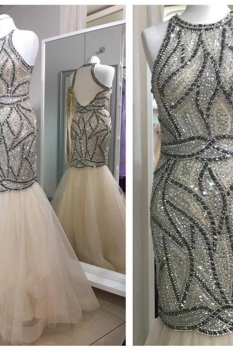 fully crystal beaded tulle champagne mermaid prom dresses evening gowns 2017