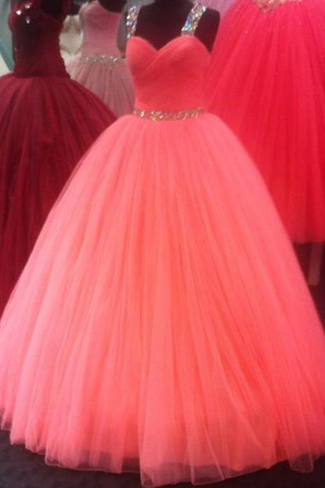 coral prom dress,ball gowns prom dress,ball gowns quinceanera dresses,sweet 16 dresses