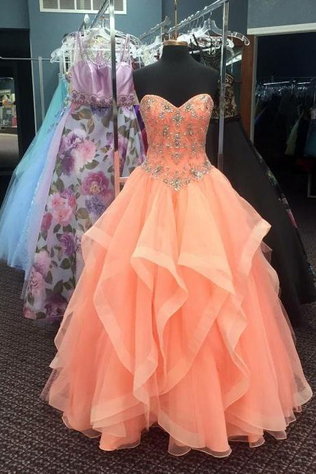 coral prom dress,organza quinceanera dresses,ball gowns quinceanera dresses,sweet 16 dresses