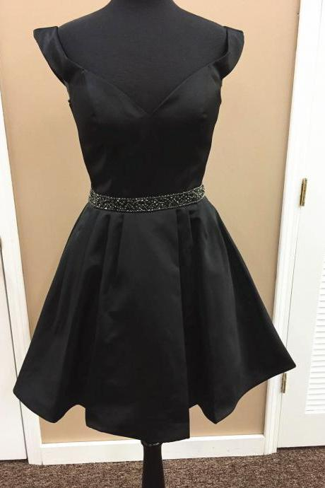 black homecoming dress,short prom dress,short party dress,cute prom dress,satin gowns,prom dresses 2017 short